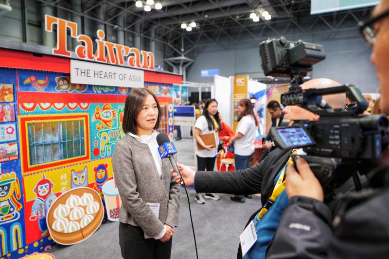 Director Claire Wen of Taiwan Tourism Bureau New York office speaks at the New York Times Travel Show